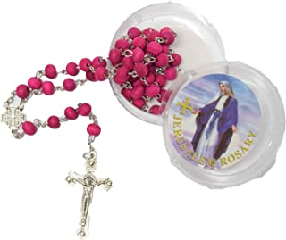 BLESSED CATHOLIC ROSARY NECKLACE Red Rose Scented Wood Beads Jerusalem Cross Crucifix in Gift Box