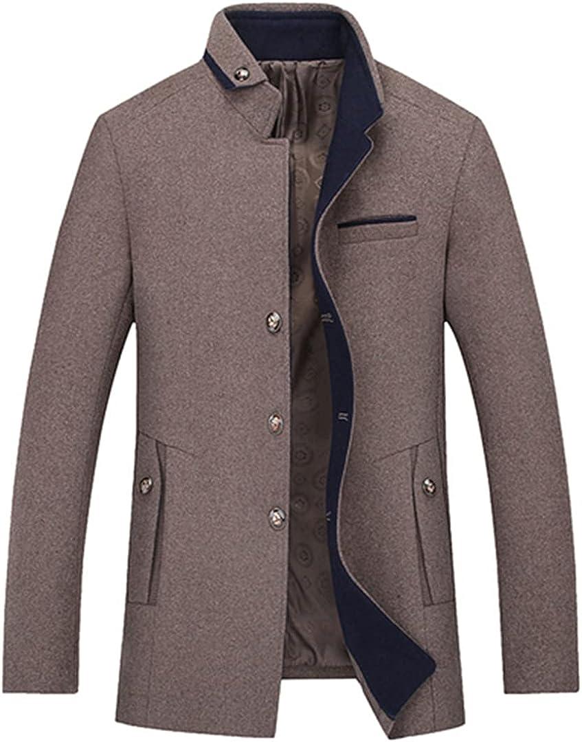 Men Wool Coats Turn Collar Peacoat Single Breasted Vintage Hombre Wool Blends Coats