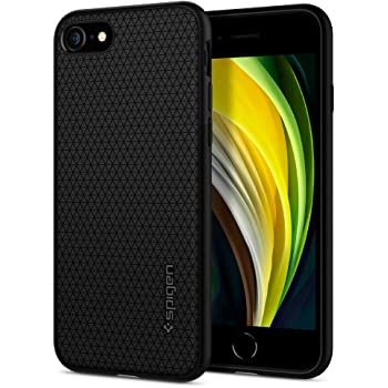 【Spigen】 iPhone SE ケース [第2世代] / iPhone8 / iPhone7 対応 新型 TPU ソフトケース 耐衝撃 米軍MIL規格取得 カメラ保護 傷防止 衝撃吸収 Qi充電 ワイヤレス充電 SE2 アイフォンSE (2020年モデル) アイフォン8 アイフォン7 カバー シュピゲン リキッド・エアー 042CS20511 (ブラック)