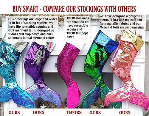 Large Mermaid Tail Christmas Stockings Flip Reversible Sequins (Purple2Silver, NOT Personalized)