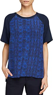Vince Top Silk Printed Blouse Blue Short Sleeve Womens Size XS