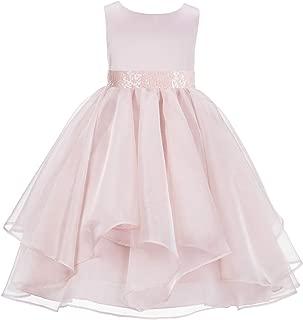 ekidsbridal Asymmetric Ruffled Organza Sequin Flower Girl Dress Princess Dresses 012S