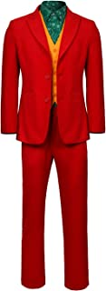 Joker 2019 Cosplay Costume Mens Halloween Joaquin Shirt Vest Outfit Gotham City Clown Red Suit