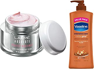 Lakmé Perfect Radiance Fairness Day Creme 50 g & Vaseline Intensive Care Cocoa Glow Body Lotion, 400 ml