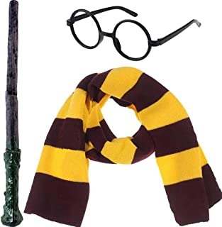 3Pcs Novelty Scarf Wizard Glasses Wand Cosplay Set Dress Up Costume Accessories Halloween Birthday Gifts Party Pretend Play Set for Kids Girls Boys