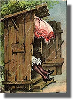 A Woman with Umbrella in Ladies Outhouse Toilet Bathroom Picture on Stretched Canvas, Wall Art Decor Ready to Hang!. (14