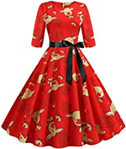 Women Vintage Half Sleeve Christmas 1950s Housewife Evening Party Prom Dress