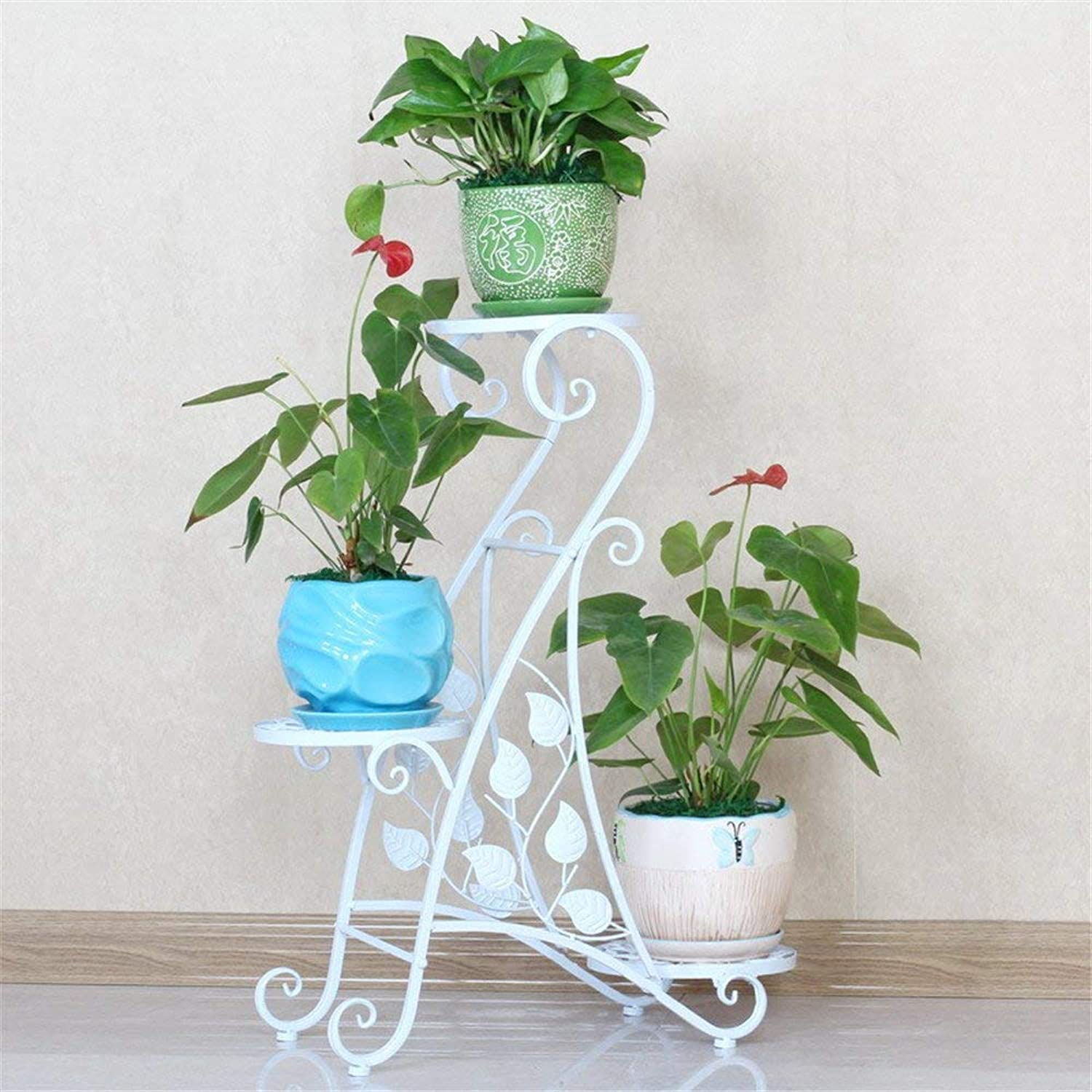 Gifts & Decor Plant Stand Shelf Multi-Storey Terrace Living Room With Three Layers Of Steel Plant Multifunctional Flower Display Stands Wood Pot Shelf Storage Rack Outdoor Indoor Pots Holder Thanksgiv