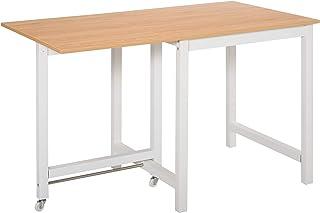 Table à manger 4 personnes avec rallonge 2 roulettes panneaux particules bois clair veinage blanc