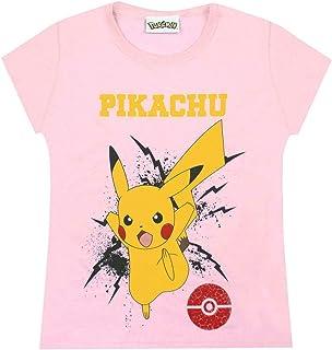 Pokemon T Shirt Girls Pikachu Bolt Childrens Kids Pink Top