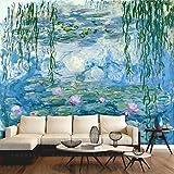 huangy ahui grandi pitture murali, soggiorno, tv, divano, carta da parati, monet, ninfee, olio pittura, ristorante carta da parati, 557