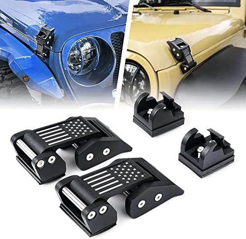 Xprite Aluminum Hood Latches Catch Kit with US Flag Style for 2007-2018 Jeep Wrangler JK JKU & 2018-2020 Jeep Wrangle...