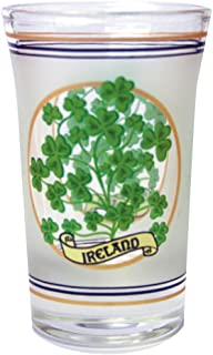 Loose Shot Glass With Sprig Of Shamrocks And Ireland Banner