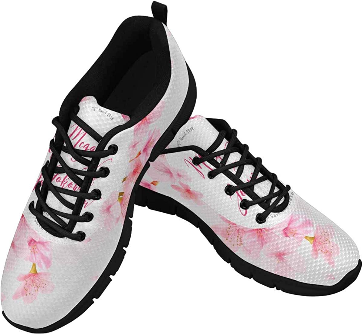 InterestPrint Watercolor Floral Cherry Blossom Women's Running Shoes Mesh Breathable Sports Casual Shoes