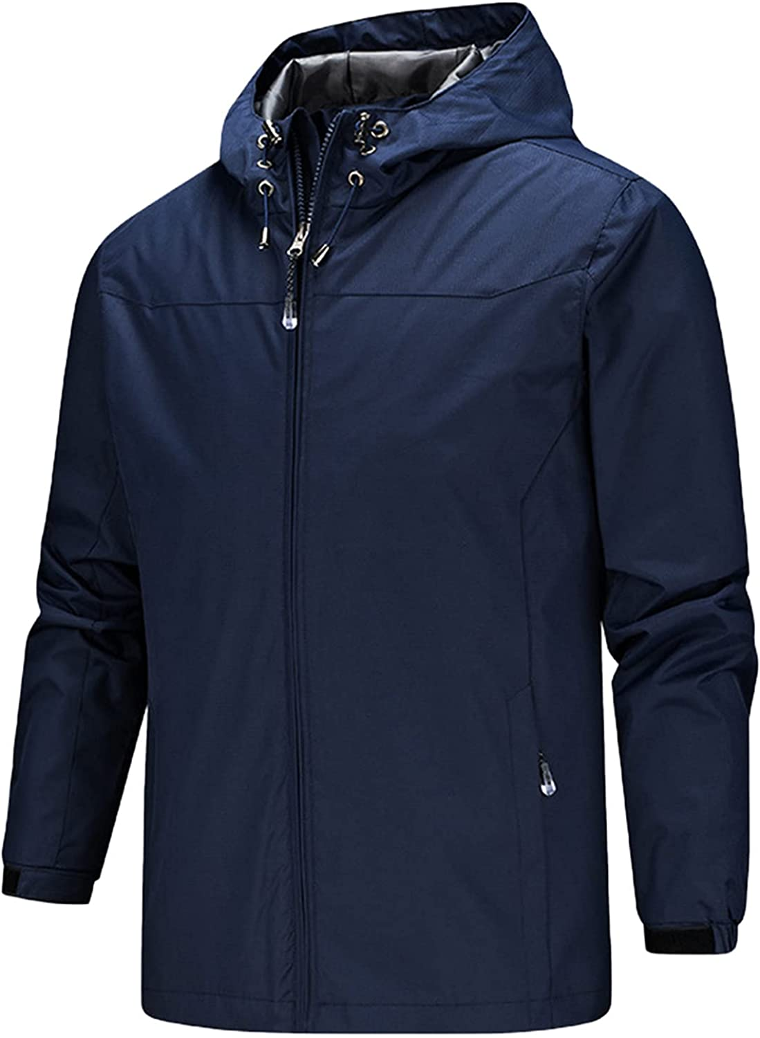 Plus Size Raincoats Mens Waterproof Breathable Hooded Trench Coats Thin Windbreaker Lightweight Outdoor Travel Jacket