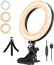 """LarmTek LED Ring Light 6"""" with Tripod Stand for Video conferencing, 3 Dimmable,11-Level Brightness & 360° Angle Adjustment..."""