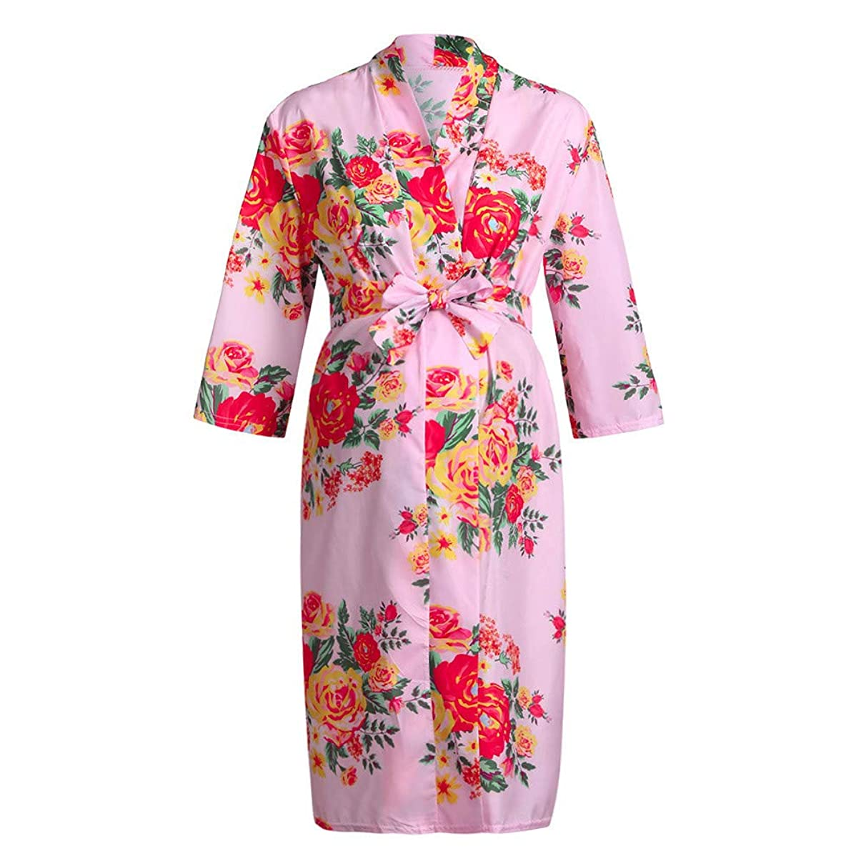iLXHD Maternity Floral Lace Trim Delivery/Nursing Robe 3/4 Sleeve Nightgowns Hospital Breastfeeding Gown