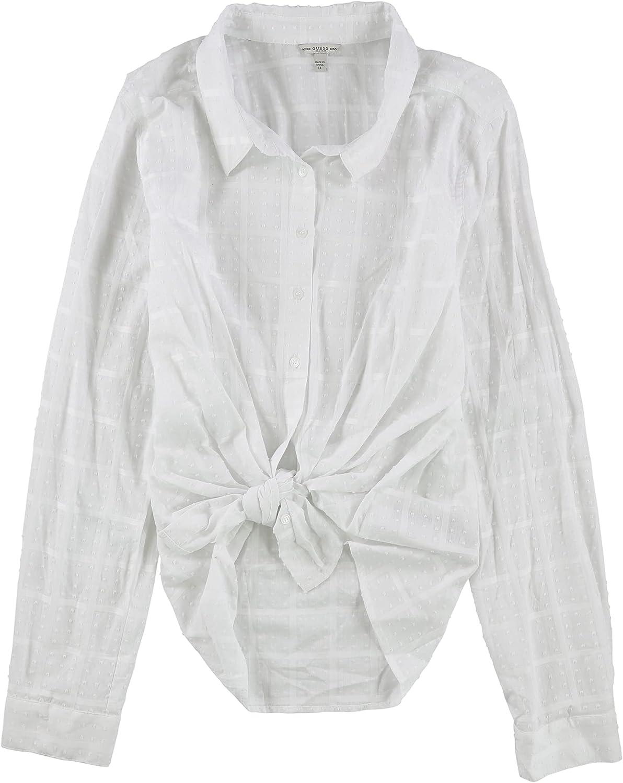 GUESS Womens Bella Tie-Hem Button Down Blouse