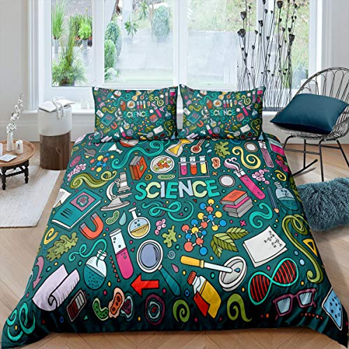 Laboratory Bedding Set Chemistry Lab Duvet Cover For Kids Teen Boys Young Man Test Tube Microscope Graffiti Comforter Cover Hippie Doodle Science Theme Bedclothes 3Pcs Queen Size Blue Green