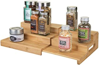 mDesign Bamboo Expandable Kitchen Cabinet, Pantry, Shelf Organizer/Spice Rack - 3 Level Storage, Easy Pull Out Handle, Eco-Friendly, Expands up to 15