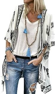 Womens Boho Long Sleeve Floral Print Cardigans Casual Kimono Coverup Tops