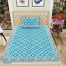 RajasthaniKart® Comfort Rajasthani Jaipuri Traditional Sanganeri Print 144 TC 100% Cotton Single Bedsheet with 1 Pillow Covers - Blue Color