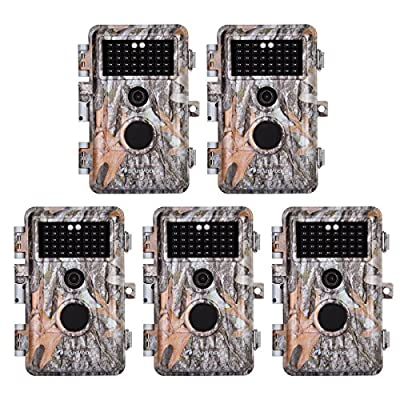 """5-Pack Game Deer Trail Cameras 20MP Photo 1920x1080P Full HD H.264 MP4 Video Hunting Wildlife Cams Time Lapse Night Vision No Glow Motion Activated Waterproof Password Protected 0.5S Trigger 2.4"""" LCD"""