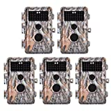 5-Pack Game Deer Trail Cameras 20MP Photo 1920x1080P Full HD H.264 MP4 Video Hunting Wildlife Cams Time Lapse Night Vision No Glow Motion Activated Waterproof Password Protected 0.5S Trigger 2.4' LCD