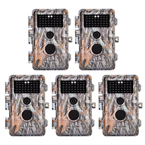 "5-Pack Game Deer Trail Cameras 20MP Photo 1920x1080P Full HD H.264 MP4 Video Hunting Wildlife Cams Time Lapse Night Vision No Glow Motion Activated Waterproof Password Protected 0.5S Trigger 2.4"" LCD"