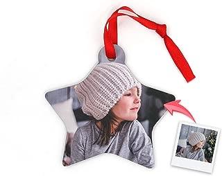Getsingular Adornos de Navidad para árbol Personalizados con Foto | Adornos de Madera Doble Cara con Foto | Máxima Calidad de impresión | Modelo Estrella