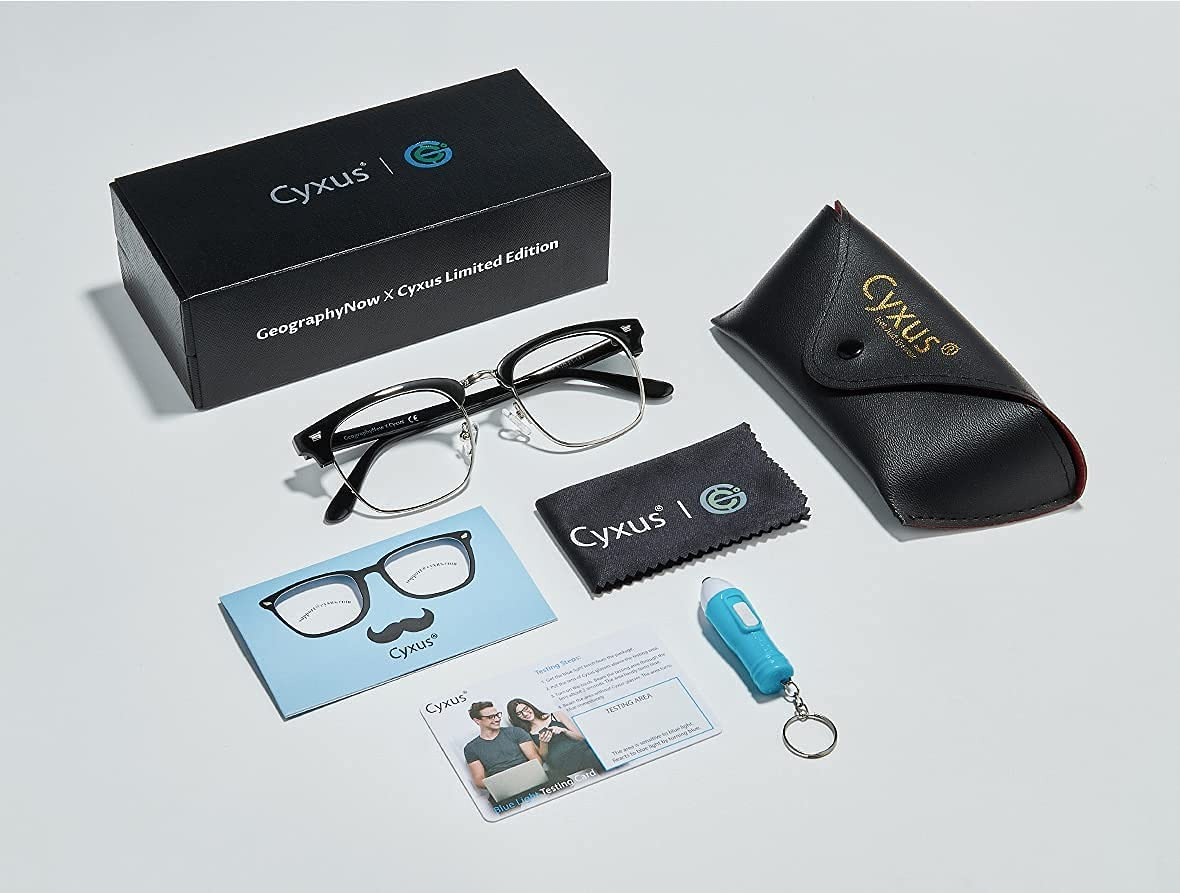Cyxus Blue Light Blocking Glasses Computer Glasses, Co-Branded Black Browline Frame, Cyxus & Geography