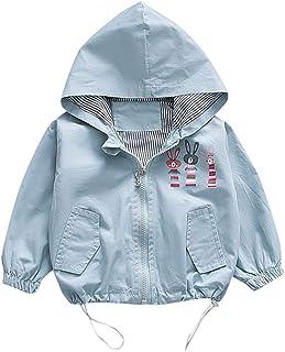 Newborn Girls Boys Hooded Zipper Windproof Coat 0-24 Months 🎅 Cartoon Rabbit Print Ruched with Pockets Jacket