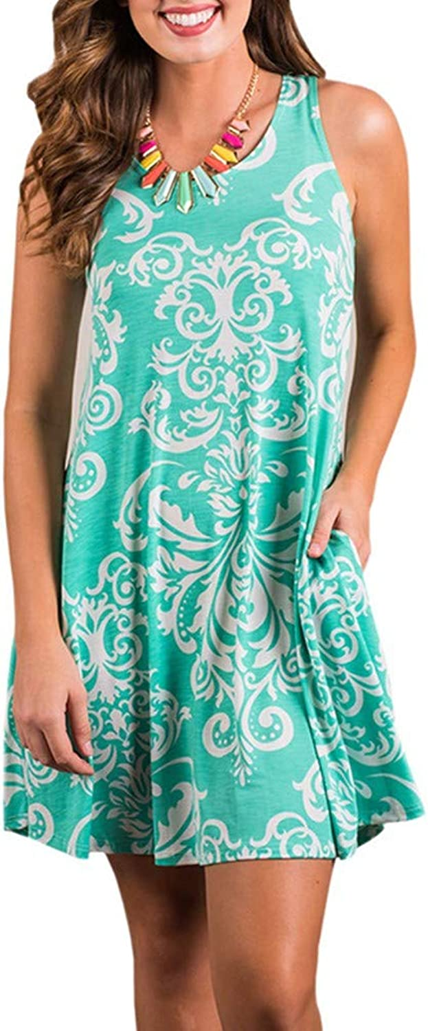 Dress Boho Women's Summer Casual Sleeveless Floral Printed Swing Dress Sundress with Pockets Midi Dress Casual Simple Loose TShirt 21 colors S M L SizeXLLight Green