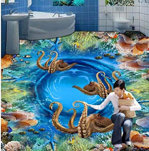 """Moderne benutzerdefinierte 3D Boden Wandbild 3D Unterwasser Riff Oktopus Malerei Hintergrund selbstklebende PVC-Tapete-200x200cm(6\'5\""""x6\'5\"""") ft"""