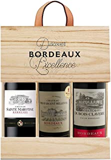 Selection Bordeaux Wein Probierpaket mit Goldmedaille in Holzkiste Rotwein 3 x 0.75 l