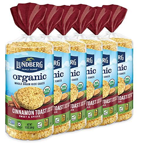 Lundberg Organic Cinnamon Toast Brown Rice Cakes, 9.5 Ounce (Pack of 6), Gluten-Free, Vegan, USDA Certified Organic, Non-GMO Verified, Kosher, Whole Grain Brown Rice