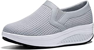Veveca Women Comfort Slip On Breathable Mesh Lightweight Casual Tennis Air Fitness Shoes Platform Walking Shoes Womens Wedge Sneakers Loafers