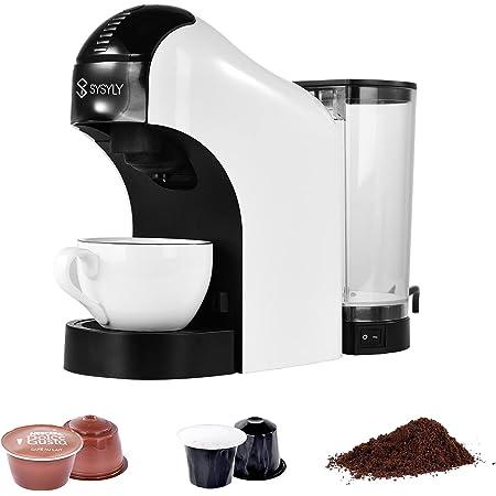 Machine à café à Capsules,Machine à café multi-capsules SYSYLY 3 en 1, adaptée aux Capsules Nespresso et Dolce Gusto et café moulu, pour Le Bureau à Domicile,15 bar,1 min d'infusion rapide