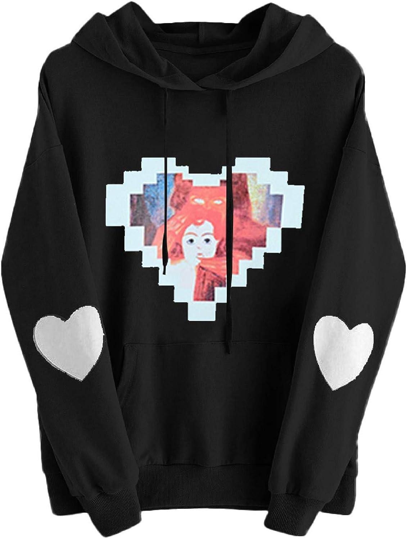 Women's Hoodie Teen Girls Colorblock Cute Heart Long Sleeve Drawstring Hoodie Sweatshirt Casual Pullover Tops