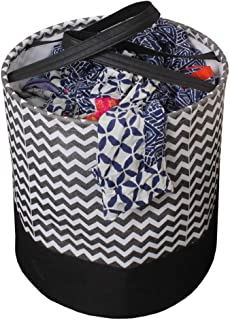 PrettyKrafts Laundry Bag for clothes, Collapsible Laundry storage, Toys Storage, (45 L) (Black and Brown Wave)