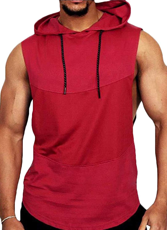 maweisong ポケット付きノースリーブジムストリンガーボディビルベストシャツメンズメンズトレーニングフードタンクトップ