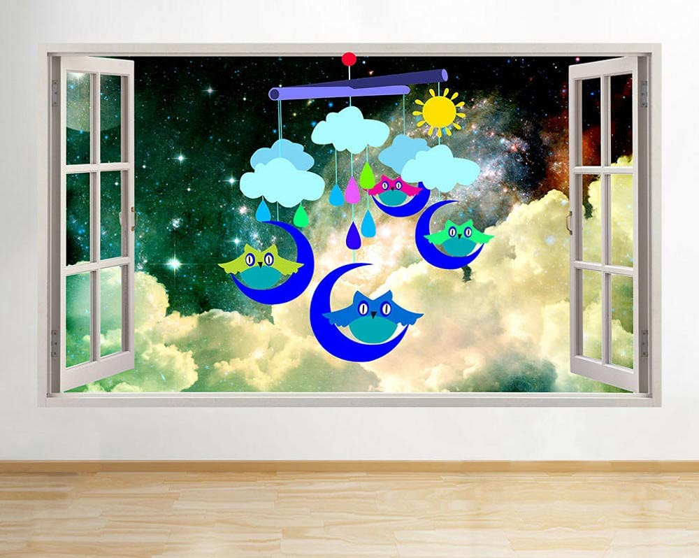 CSCH Wall Stickers Murals Owl Nursery Boy Mobile Sti Don't miss the campaign Daily bargain sale Blue