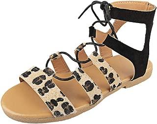 JJLIKER Women Roman Leopard Criss Cross Cut Out Lace Up Sandals Fashion Open Toe Slingback Flat Sandals