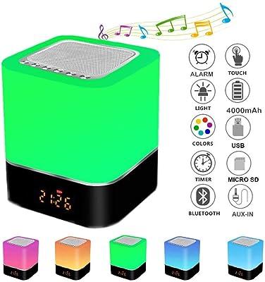 Nachttischlampe Bluetooth Lautsprecher LED RGB Stimmungslicht FM Radio Wecker