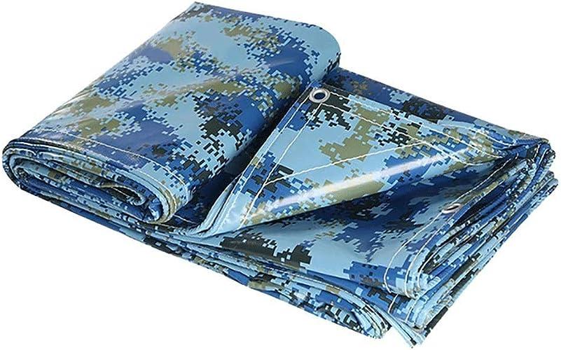 Bache De Prougeection Imperméable,Bleu Camouflage De plein air Poids léger Toile Camping Bache de tente avec Oeillets (taille   4  6m)