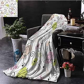 EDZEL Fleece Throw Blanket Cat Lover Doodle Kitten Paws Meow Elegant and Comfortable 72x54 Inch
