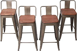 Changjie Furniture 26 Inch Swivel Metal Bar Stools Kitchen Counter Barstools Low Back Set of 4 (26 inch, Swivel Low Back Rusty Wooden)