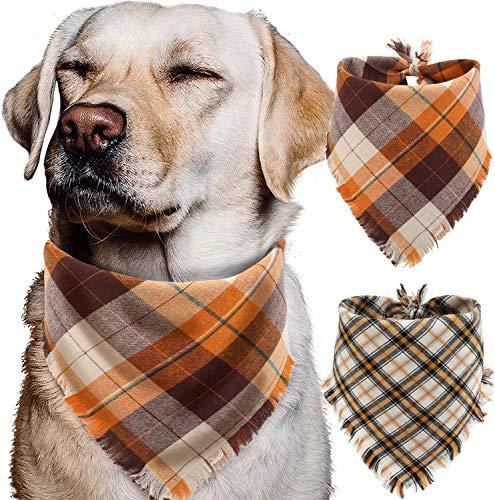 Fall Dog Bandana - Set of 2 Washable Reversible Square Plaid Pet Kerchief Scarf for Halloween