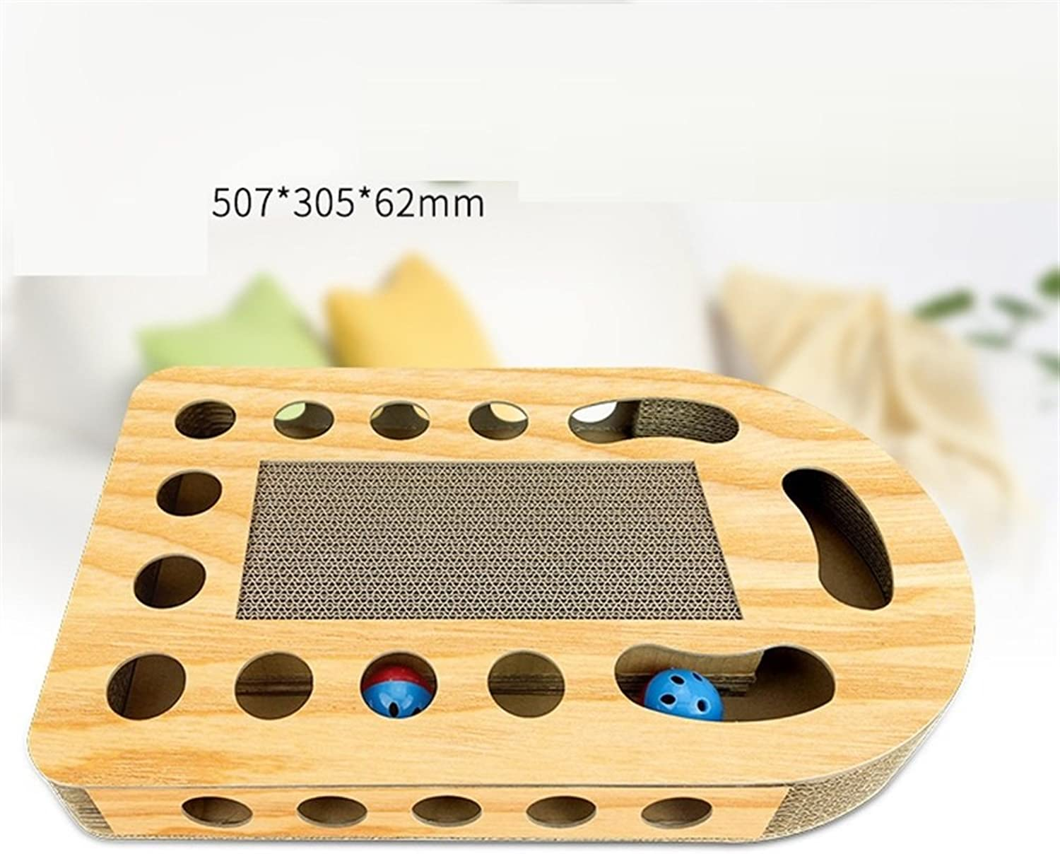 Cat Teaser Cat Toy Box Turntable Cat Scratch Board Interactive Puzzle Box with Balls Pet Toy