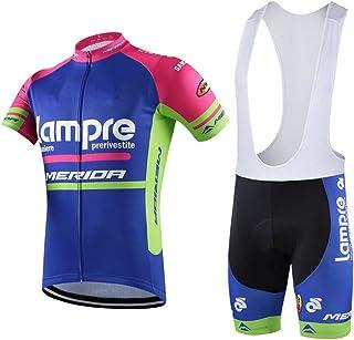 HnjPama Pro Team Unisex Cycling Jersey Set Bib Shorts Lampre Print Bamboo Fiber Cycling Jersey